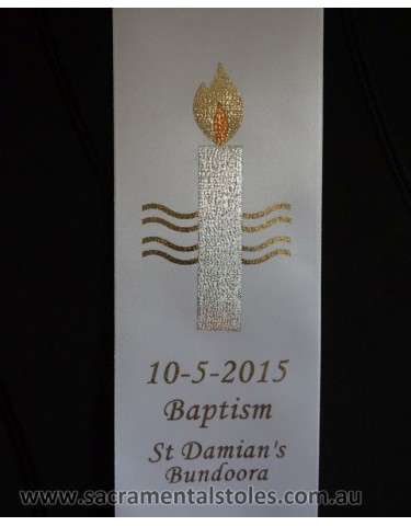 BYO STOLE : Baptism Christening MOTIF to Existing Sash (Standard / Small Size)