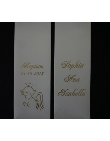 Baptism Christening Stole Sash Personalised ANGEL 1.5m