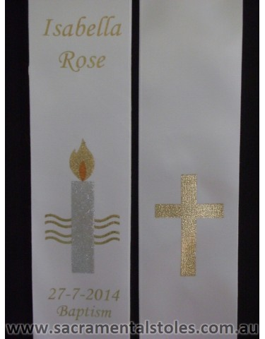 Baptism Christening Stole Sash Personalised (Infant) 1m Style1