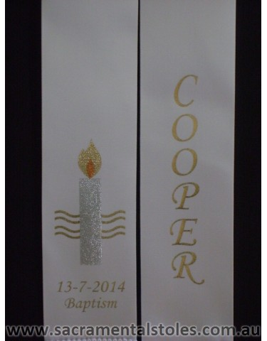 Baptism Christening Stole Sash Personalised (Infant) 1m Style2