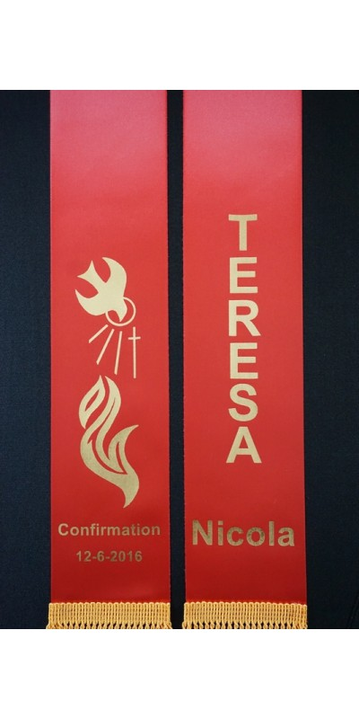 CONFIRMATION Stole Sash Personalised Style4 RED