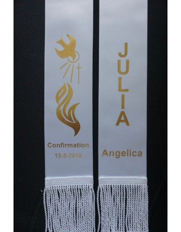 CONFIRMATION Stole Sash Personalised Style4 WHITE