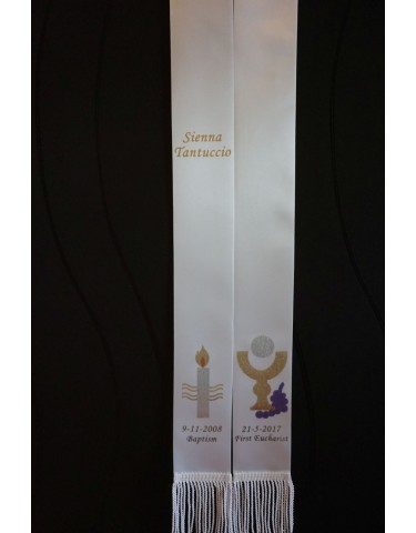 EUCHARIST First Holy Communion Stole Sash Personalised Style2B